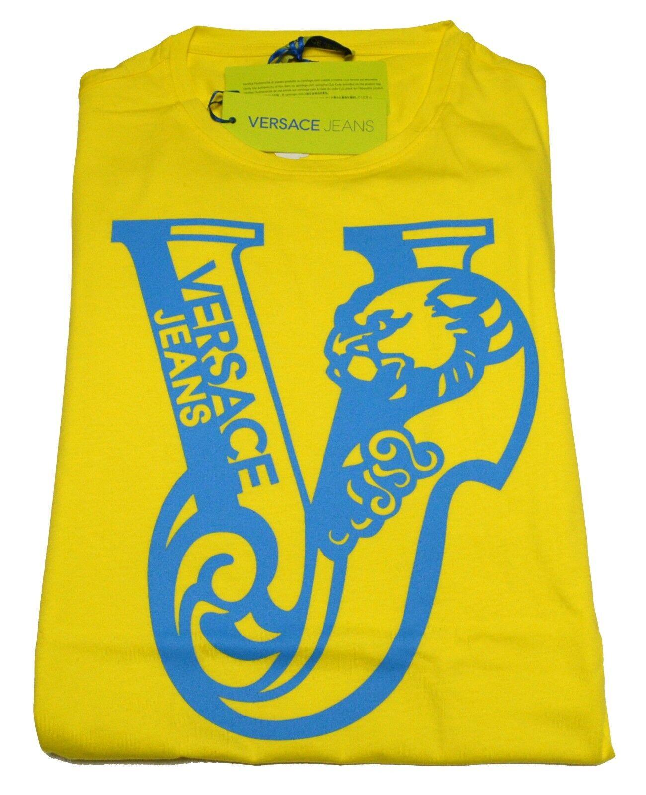 T-shirt Gianni Versace Jeans Men  Fashion T-shirt Mens Jersey Cotton Yellow