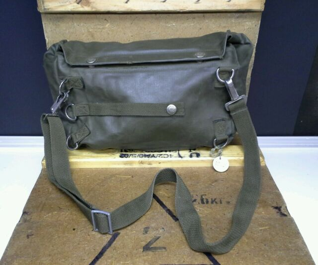 67e316e917c USED SWISS MILITARY GAS MASK BAG WITH STRAP SM-74 OD GREEN CANVAS VINYL