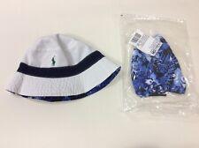 POLO RALPH LAUREN Bucket Hat REVERSIBLE Cap Pony  White Blue Flower L/XL