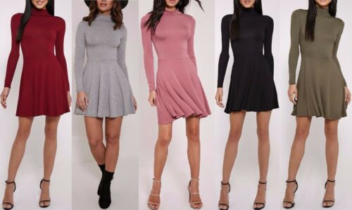 Nouveau femme basic col haut jersey robe patineuse taille 6,8,10,12,14,16
