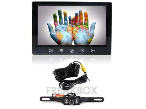 "Kit retromarcia Camper Auto Monitor LCD 9/"" Telecamera Targa cavo 10 metri"