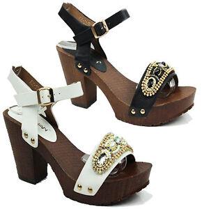 Plataforma-Para-Mujer-Taco-de-Bloque-de-Alto-Hebilla-Correa-en-el-tobillo-Sandalias-Damas-Zapatos