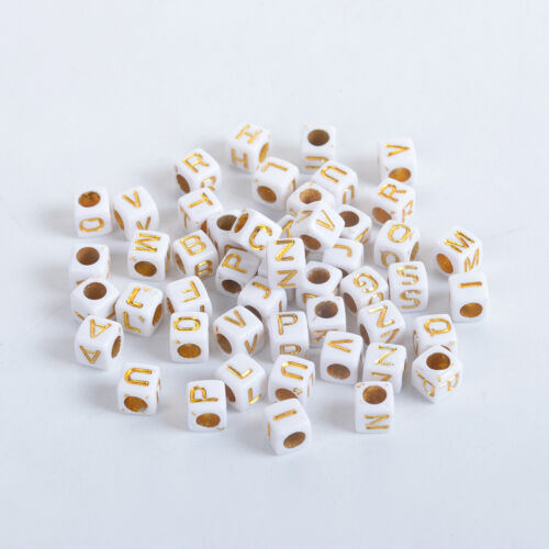 100 Acrylic Beads Square Random Alphabet// Letter Gold 6mm hole approx 3mm