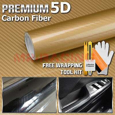 "*48/""x60/"" 5D High Gloss Gold Carbon Fiber Vinyl Wrap Bubble Free Air Release"