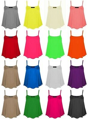 NEW WOMENS  PLAIN CASUAL STRAPY SLEEVELESS SWING VEST CAMI TANK TOP SIZE 8-22