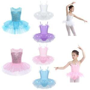 US-Girls-Gymnastics-Dance-Dress-Toddler-Kids-Leotard-Ballet-Tutu-Skirt-Dancewear