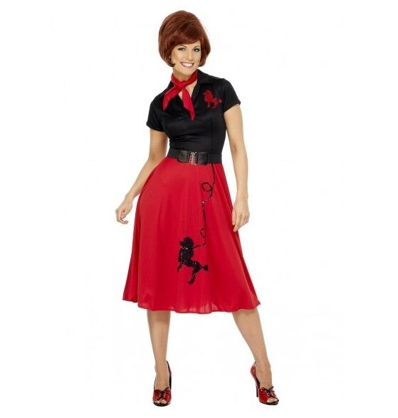 RED 50'S STYLE LADIES POODLE DRESS - WOMENS COSTUMES - MELBOURNE