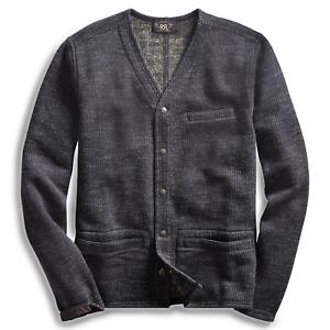 RRL Ralph Lauren Cotton Blend Vintage Workwear Style Fleece Cardigan XL