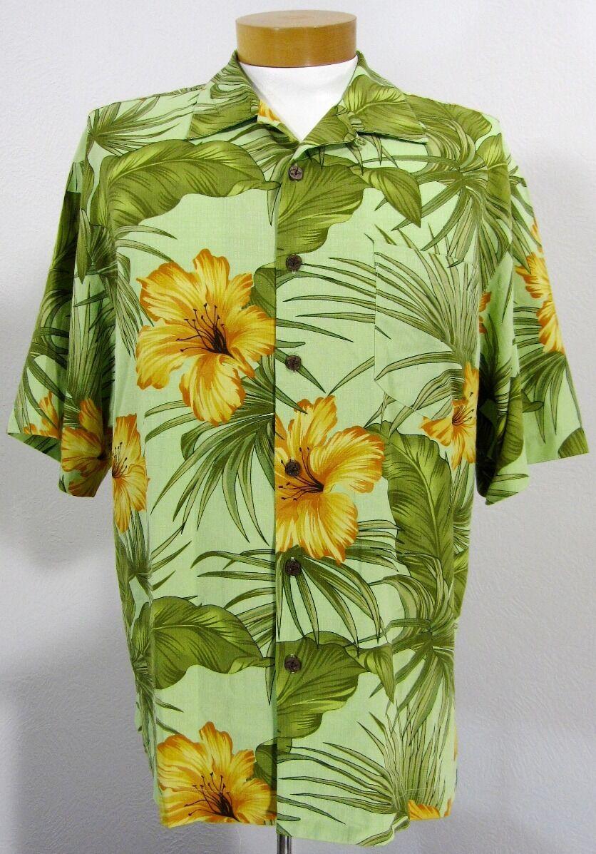 a8f4f1a324266 BERMUDA BAY 100% SILK MEN CAMP CASUAL SHIRT SIZE L LARGE GREEN HAWAII FLORAL