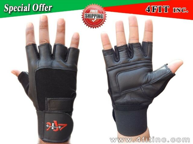 4fit Leather Weight Lifting Gloves Long Wrist Wrap Exercise Training Gym  S-XXL