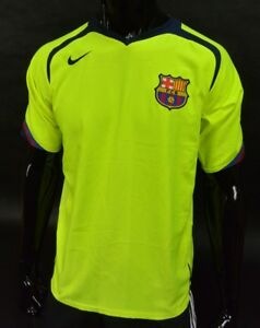 new arrival 64671 ce28d Details about Barca 2005-06 Nike FC Barcelona Away Shirt Neon Football  Jersey SIZE M (adults)