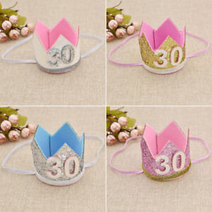 Bling-Bling-Sequins-Birthday-Crown-Hat-Charms-Lovely-30th-Birthday-Celebrations