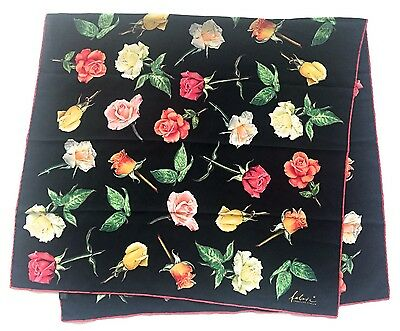 """Luxury FABRIC FRONTLINE Large Floral ROSES Red Green BLACK Silk 51"""" Scarf Wrap"""