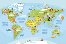 Animals of the world map educational poster 54 x 38 ebay educational kids global world map cartoon animals poster 18x12 gumiabroncs Images