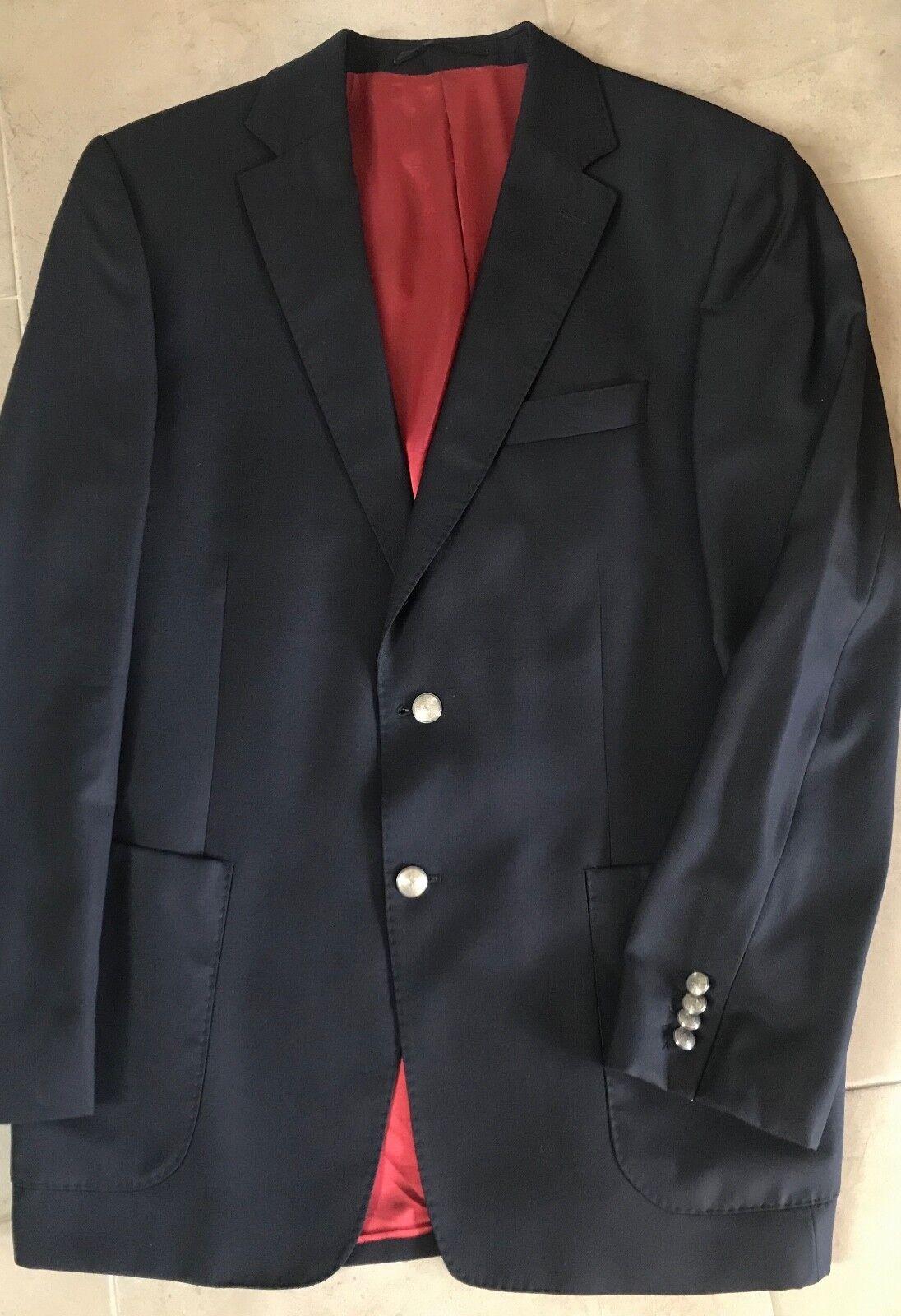 Clubjacke Jacke Sakko G 52 marine 100%Wolle Super 110's Made  gebraucht