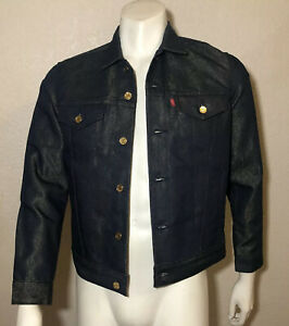 Levi-039-s-Jacket-Jean-Denim-Raw-Unwashed-Blue-Metallic-Gold-Weft-Mens-Small