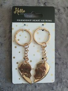 Pair-of-Gold-Friendship-Best-Friend-Heart-Keyrings-NEW