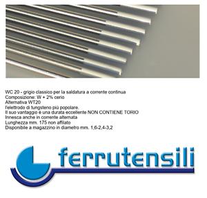 Elettrodo Tungsteno per Saldatura TIG WC20 Grigio 2/% Cerio diametro mm 1,6