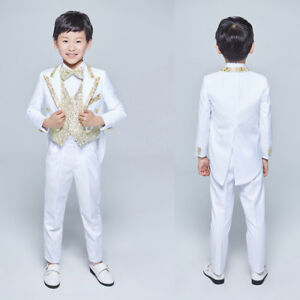 9b0949b2648 Boys Wedding Suits 3 Piece Prom Kids Suit White Jacket Pants Gold ...