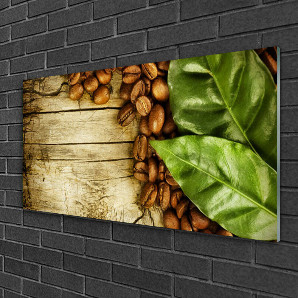 Print on Glass Wall art 100x50 Picture Image Coffee Beans Leaves Kitchen