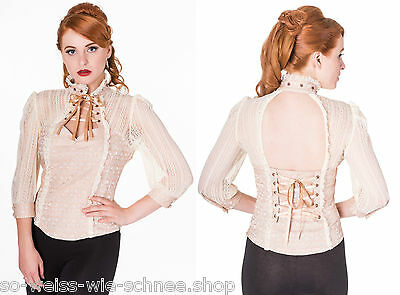 Banned Steampunk Bluse Gothic Vintage Barock Blouse Victorian Choker OBN1036
