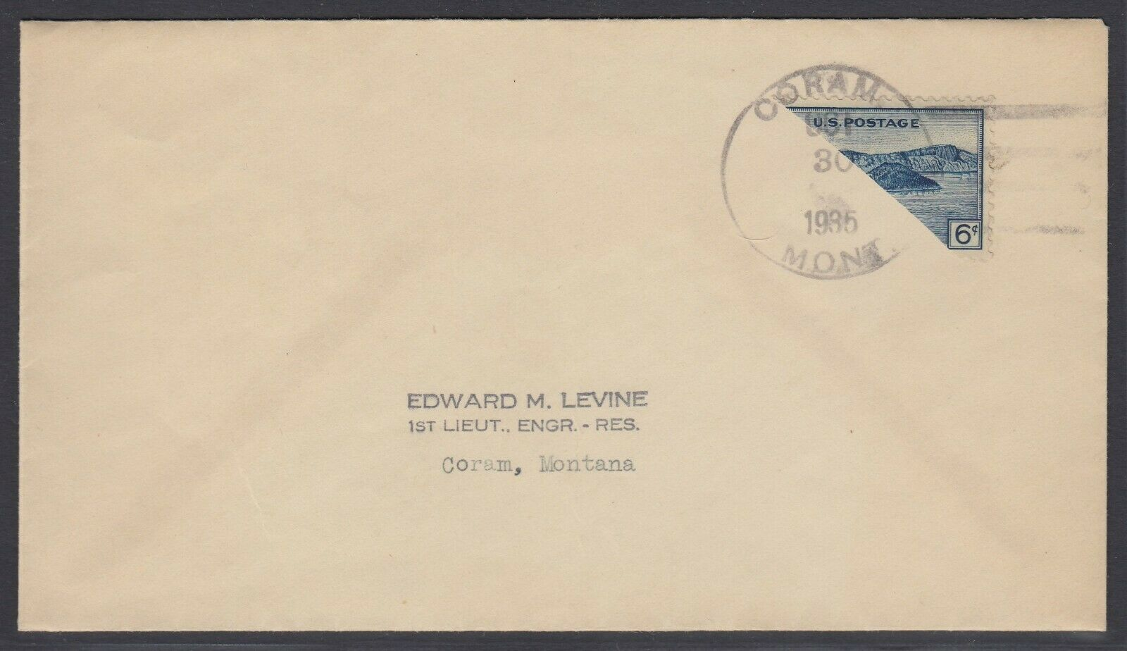 US Sc 745 - 1935 Diagonal BISECT on cover from Coram Mont addressed locally