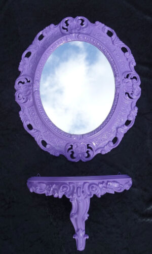 console ovale support mural set Baroque rococo ancien 44x38 violet 1 Miroir mural