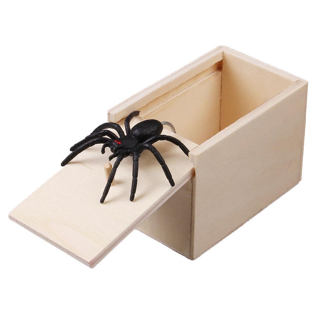 New Novelty Hilarious Scary Box Spider Prank Wooden Scary Box Joke Gag Toy UK
