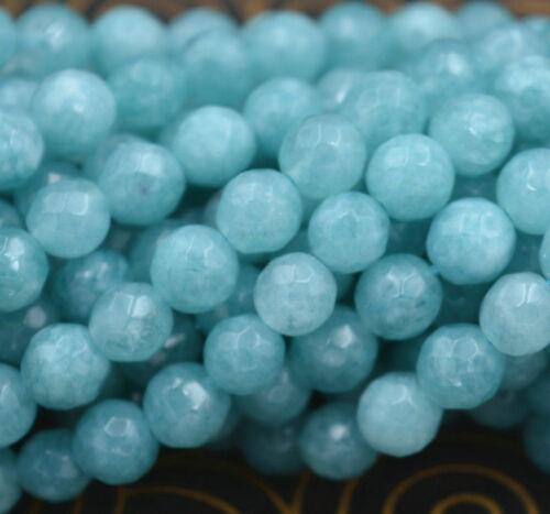 """Pretty natural 6mm Facetado Azul Aguamarina Piedras Preciosas redonda suelta granos 15/"""" AA"""