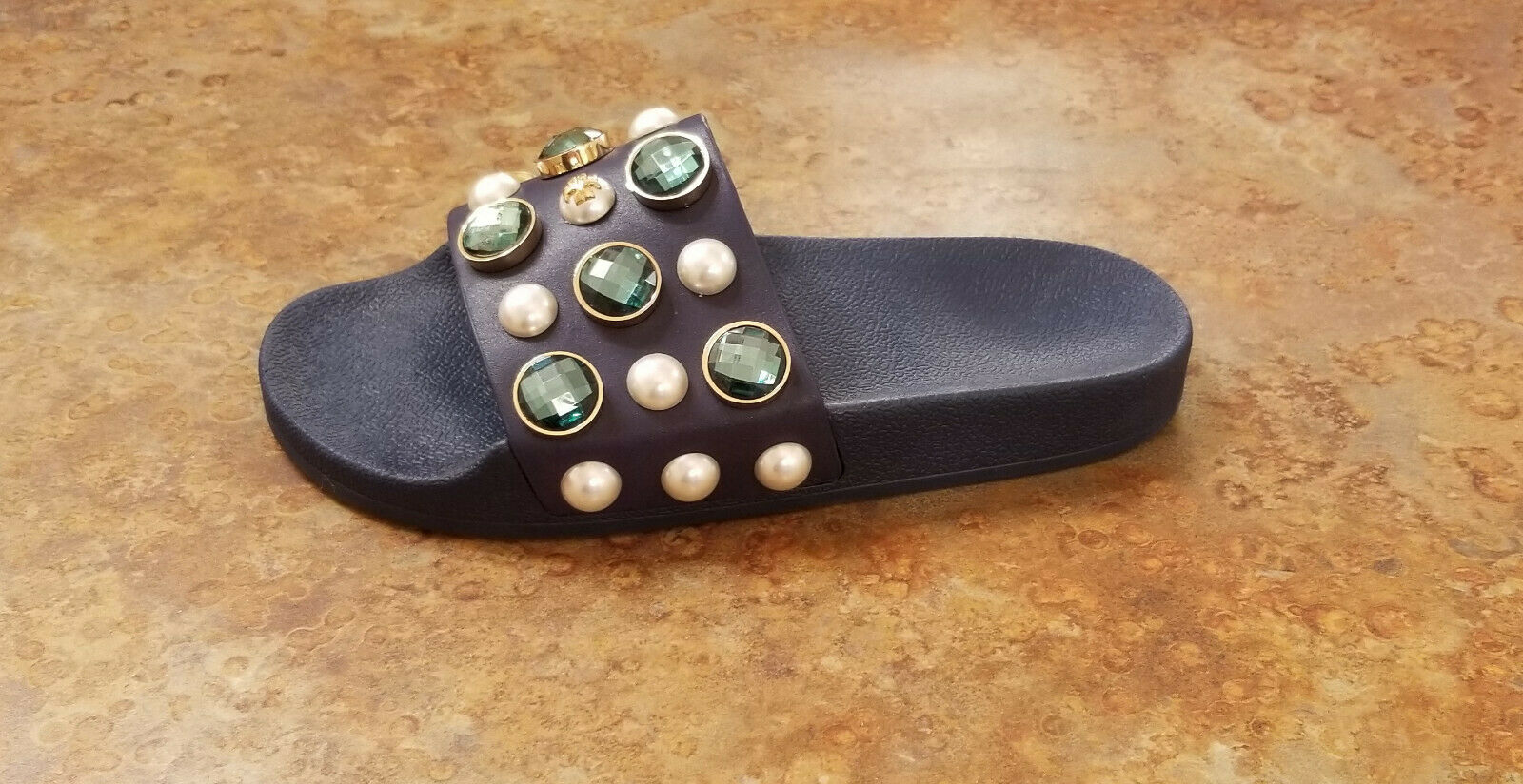 New  Tory Burch 'Vail' Embellished Slide Sandals bluee Womens Size 6 M MSRP  225