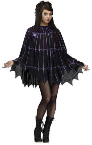 Spider Web Black Poncho Costume Halloween Cape Spooky Spiderweb Silver