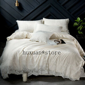 Washed-Silk-Pure-Colour-Luxury-Bedding-Set-Glitter-Stone-Duvet-Cover-Sheet-4pcs