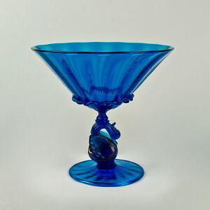 Details About Large Salviati Blue Venetian Gl Footed Bowl Or Fruit Stand Swan Pedestal