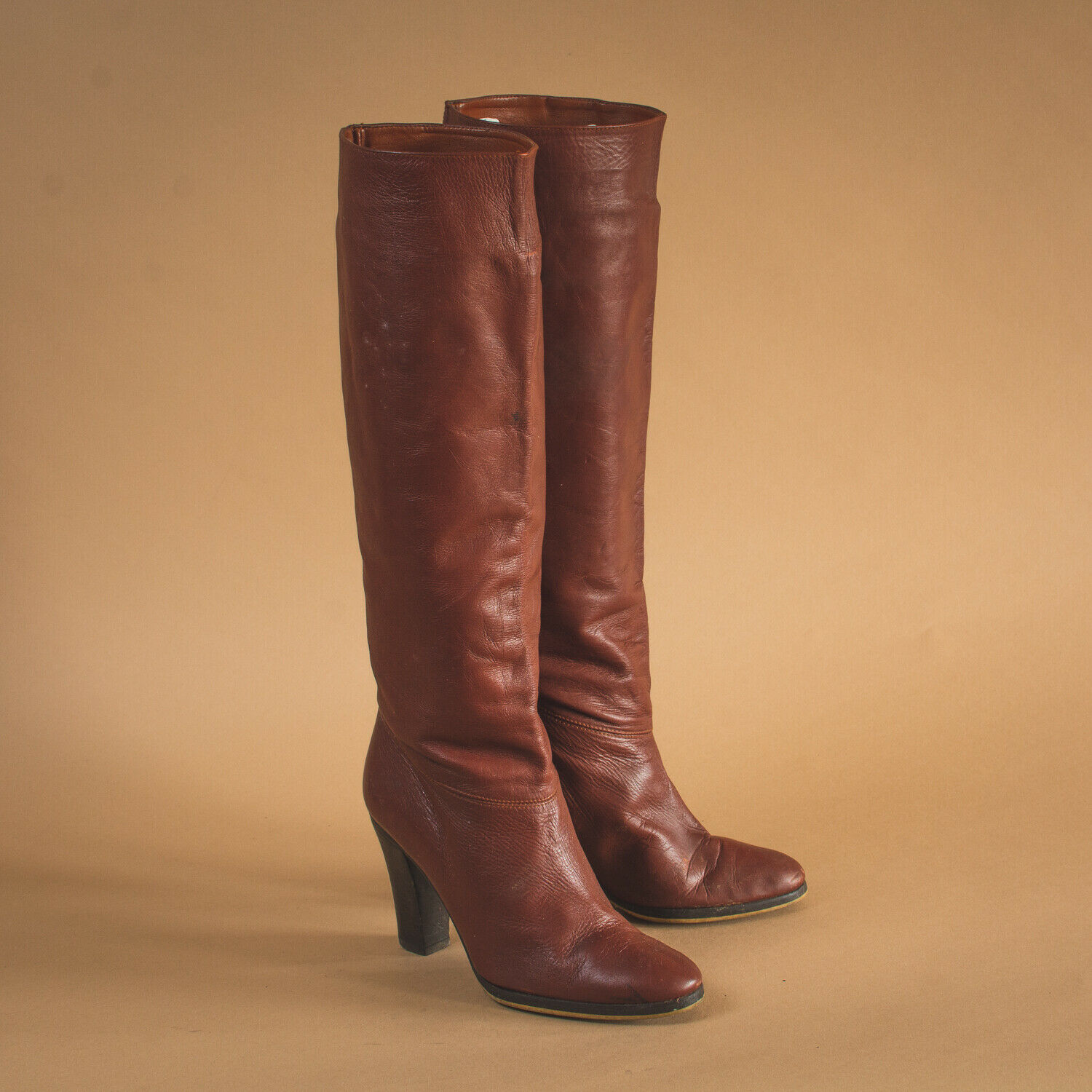 Vintage 80's 90's Women's Brown Leather Heeled Knee Boots US 5.5