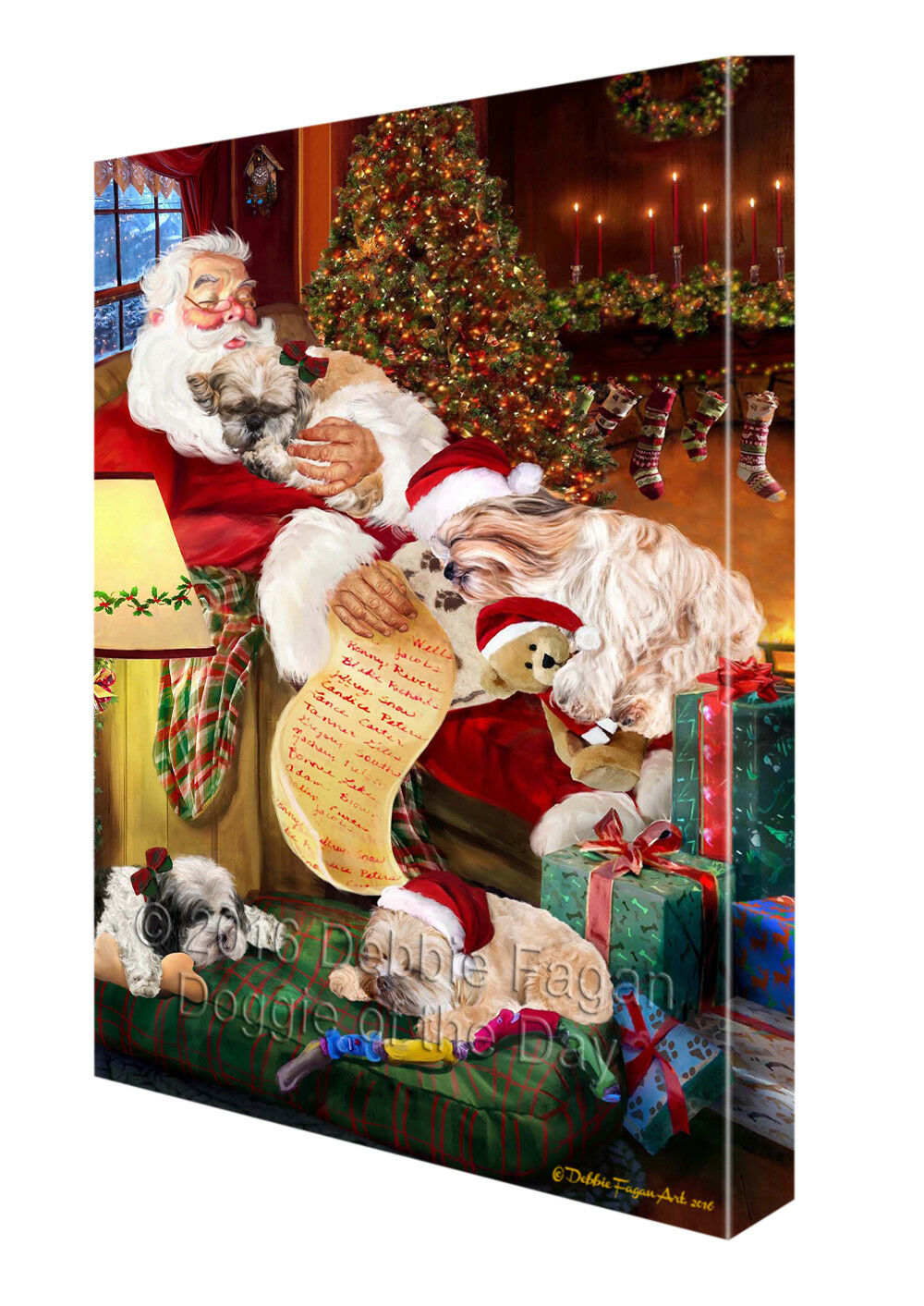 Happy Holidays Santa Sleeping Shih Tzu Hund Christmas Canvas Wand Kunst