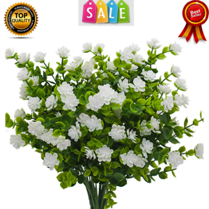 Artificial Flowers Fake Outdoor Uv Resistant Greenery Plants Shrubs Plastic 6pcs Ebay