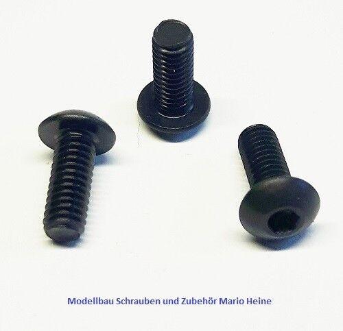 schwarz Stahl hochfest 10.9 ISO 7380 25 Stück Linsenkopfschraube M4x6-20mm