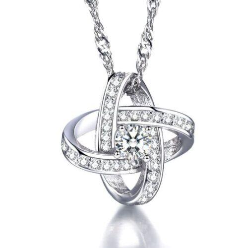 925 Cristal Argent étoile Collier Pendentif Boucles d/'oreilles Set Femme St Valentin Cadeau