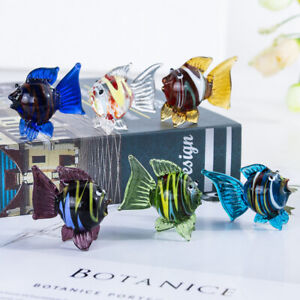 Hand-Blown-Tiny-Crystal-Glass-Art-Fish-Figurines-Animals-Collection-6pcs-Decor