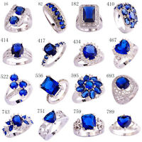 Fashion Blue Sapphire White Topaz AAA Gems Silver Ring Size 6 7 8 9 10 11 12 13