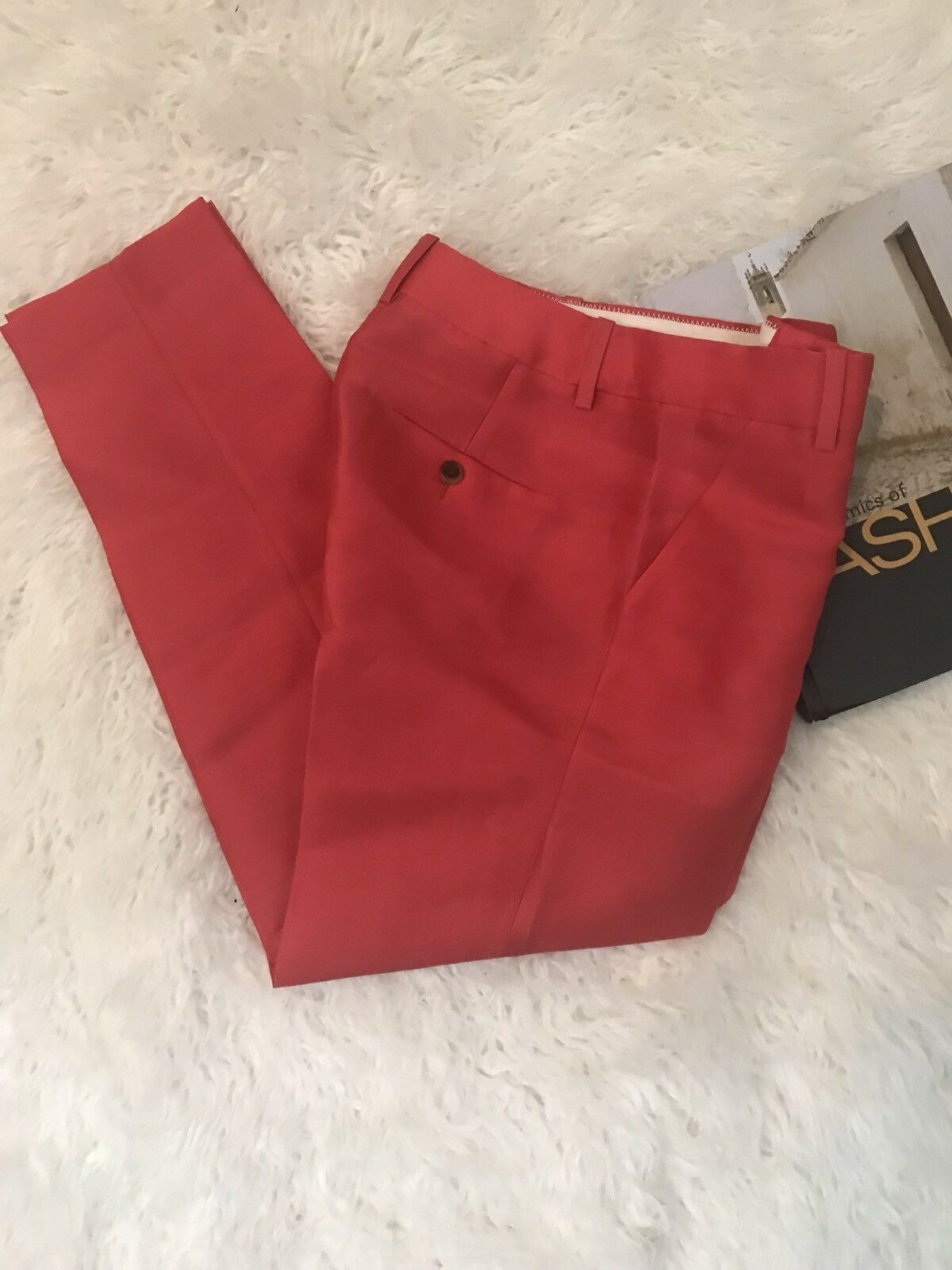 J. CREW Collection Red Silk Wool Blend Original Fit Trouser - Sz 00 NWT