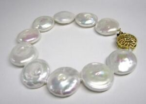 HUGE-14-15MM-WHITE-SOUTH-SEA-COIN-PEARL-BRACELET-7-5-8-034-14K-GOLD-CLASP