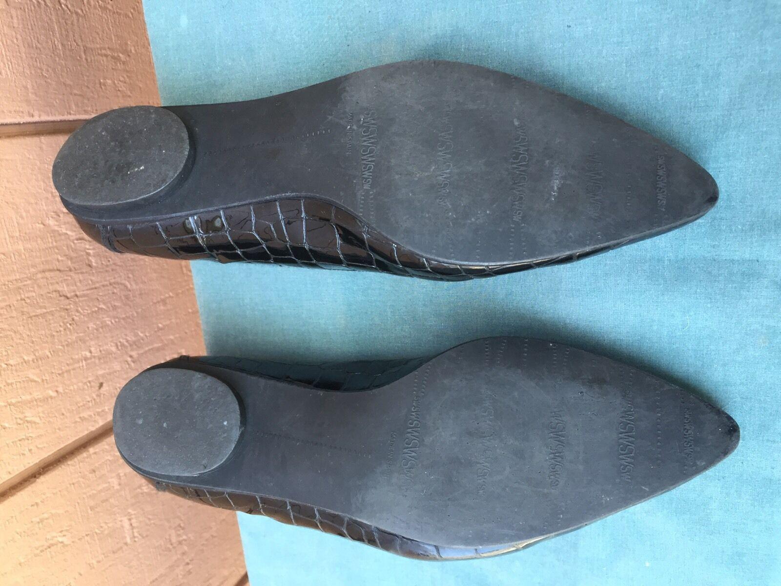 Stuart Weitzman Weitzman Weitzman Black Leather Crocodile Print Flats Mocassins  Women's US SZ 7 M 77beea