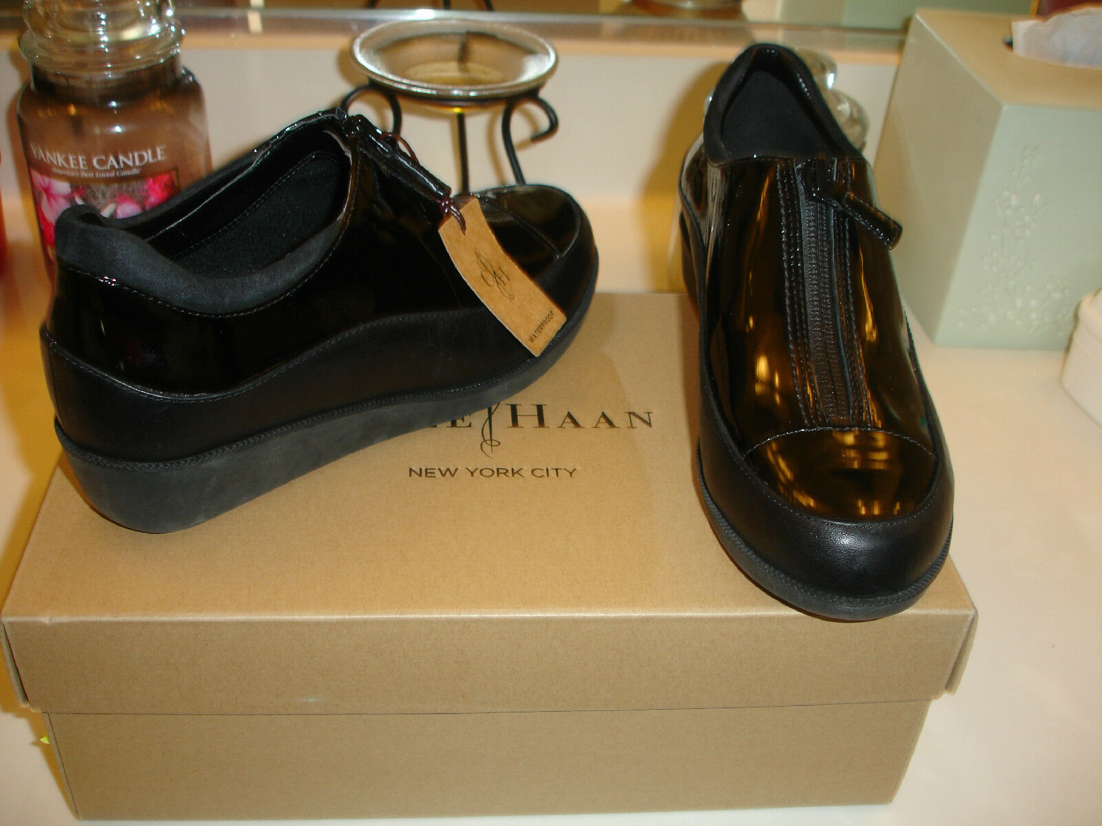 Cole Haan Tali Zip Zip Zip up Rain shoes  black patent leather Styllish Waterproof  270 6 bb50af