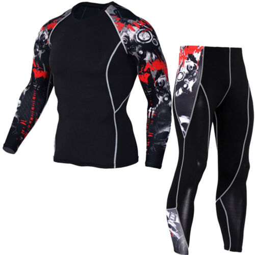 Fitness T Mma Shirt Uomo Set Leggings Muscle Stampa Compression 3d Crossfit qqwap4