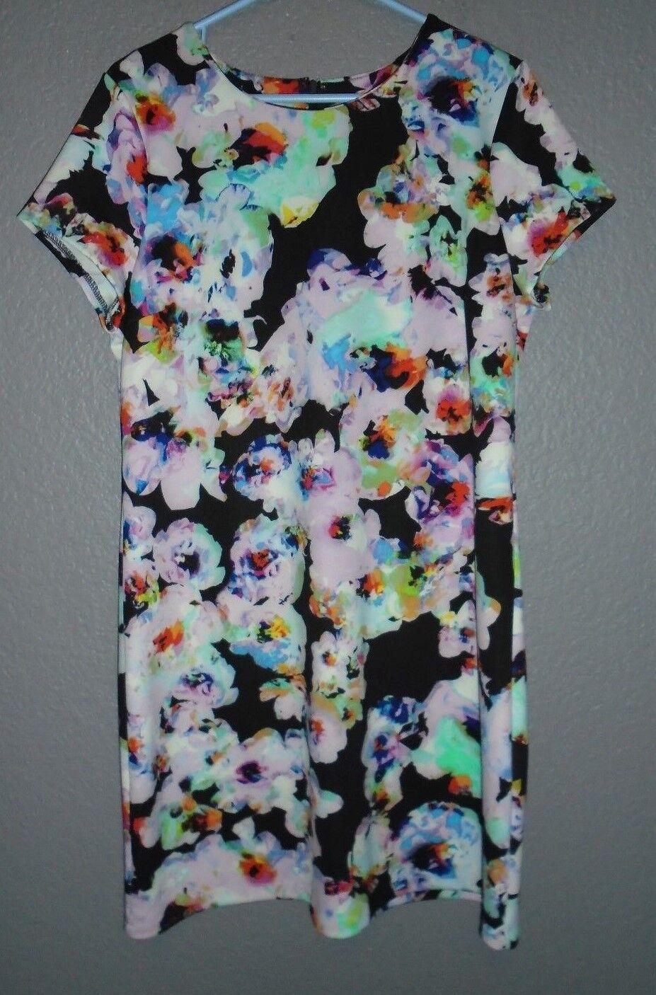Neiman Marcus Short Sleeve Multi-color Floral Print Sheath Dress Women's XL  109