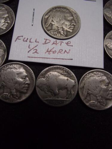 FINE Condition 1934-D Buffalo Nickel Sharp FULL 4-Digit Date /& 1//2 HORN