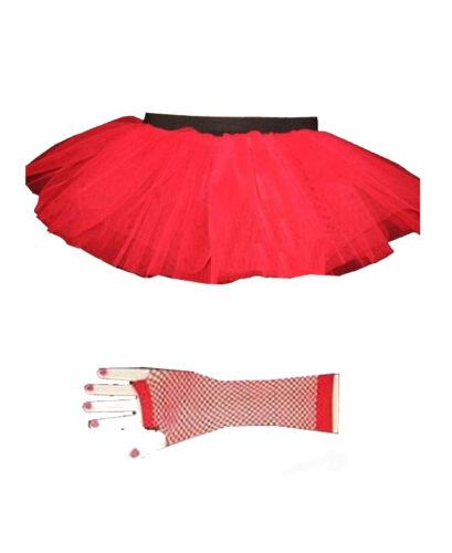 New Neon UV Flo Hot Red Tutu /&Fishnet Gloves Size 6-16