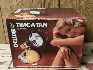 GE Deluxe Time-A-Tan Sun Lamp (RSK6) Complete With Box, Goggles, And Bulb Works!
