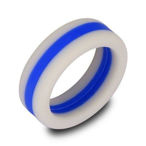 Medical Grade Silicone Wedding Ring for Men//Women Stripe Rubber Band Size 7-13